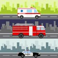 An ambulance, a fire truck, a police car on a city landscape background. Service auto vehicle, public and emergency transport, urb Royalty Free Stock Photo