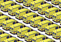 Ambulance fleet of yellow ambulances background Royalty Free Stock Images