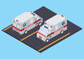 Ambulance front and rear view vector isometric illustration of an read isometric Stock Images