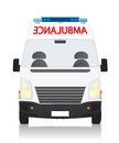 Ambulance front view drawing of an object on white background Royalty Free Stock Image