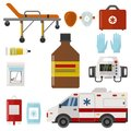 Ambulance icons medicine health emergency hospital urgent pharmacy medical support paramedic treatment vector