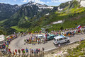 Ambulance of le tour de france col pailheres july official the competition climbing the road to col pailheres in pyrenees Stock Images