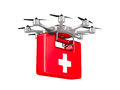 Ambulance octocopter on white background. Isolated 3d illustrati