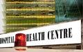 Ambulance signal & hospital, health center. Royalty Free Stock Photo