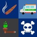 Ambulance, tobacco drugs, death icons
