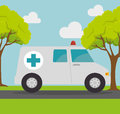 Ambulance transport emergency landscape background Royalty Free Stock Photo