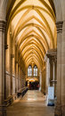 Ambulatory ceiling in wells cathedral vertical photography Royalty Free Stock Image