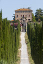 Amelia (Umbria, Italy) - Old villa and cypresses Royalty Free Stock Photo