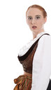 Amended loser view of a young woman in dirndl or shocked Stock Photography