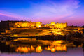 Amer fort at night in twilight jaipur rajastan indian landmark amber illuminated one of principal attractions india refelcting Stock Images