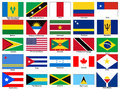 America continent flags vector set for zone Stock Photography