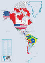 America Continental country flags and map Stock Photo
