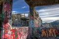 America Flats Graffiti Window Royalty Free Stock Photo