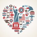 America love - heart shape with many vector icons Stock Photos