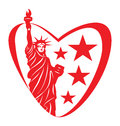 America love heart with statue of liberty Royalty Free Stock Image