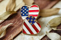 America love symbol on wood Royalty Free Stock Photo