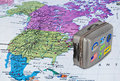 America map and travel case with stickers (my photos) Royalty Free Stock Photo