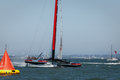 America s cup qualifying race team luna rossa san francisco august ac sailboat crossing finish line louis vuitton san francisco Stock Image