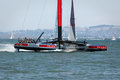 America s cup qualifying race team luna rossa san francisco august in action on ac sailboat in louis vuitton san francisco bay on Stock Photo