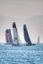 America s cup world series catamarans in gulf of naples Stock Photography