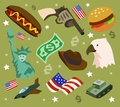 America set flat childish vector illustration Stock Image