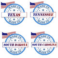 America stamps set of with made in texas tennessee south dakota south carolina Royalty Free Stock Photography
