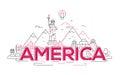 America - vector line travel illustration