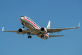 American Airlines Boeing 737 in retro colors taking off active runway