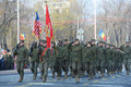 American army troops are seen during the romanian national day parade in bucgarest the capital of romania on december the st Stock Image