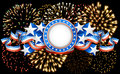 American background with fireworks on black Royalty Free Stock Photo