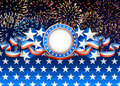 American background patriotic with fireworks Stock Images