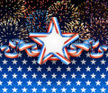 American background patriotic with fireworks Stock Photos