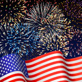 American background patriotic with fireworks Stock Photography