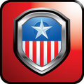 American badge on red web button Stock Photo