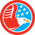 American Bald Eagle Stars Circle Retro Royalty Free Stock Photo