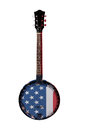American banjo a with flag isolated on a white background Royalty Free Stock Photography