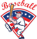 American Baseball Player Batting Cartoon Stock Photography