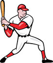 American Baseball Player Batting Cartoon Stock Images
