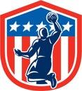 American Basketball Player Dunk Rear Shield Retro Royalty Free Stock Photo
