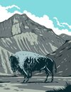 American Bison with Eagle Peak Mountain in Yellowstone National Park Wyoming United States of America WPA Poster Art Royalty Free Stock Photo