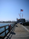 American boardwalk by the beach famous scene of ocean broad walk flag with wooden plank this place is on california Stock Image