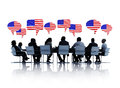 American business people having a meeting group of conference about america in white background Royalty Free Stock Photo