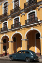 American car and colonial architecture in havana old city center Royalty Free Stock Photos