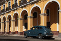 American car and colonial architecture old in havana city center Royalty Free Stock Image