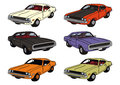 American cars drawing of classic musclecars Stock Photo