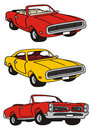 American cars drawing of classic musclecars Royalty Free Stock Photography