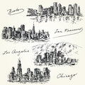 American cities skylines hand drawn set Stock Image