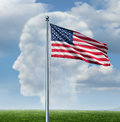 American citizenship and immigration in the united states concept as a group of clouds in the sky shaped as a human head and a Royalty Free Stock Images