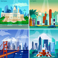 American Cityscapes Concept Icons Set Royalty Free Stock Photo