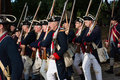 American colonial soldiers marching  in historic Williamsburg Va Royalty Free Stock Photo